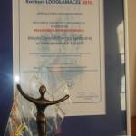 Certyfikat przyznający statuetkę oraz statuetka otrzymana w konkursie Lodołamacze 2010. Powiększ zdjęcie.
