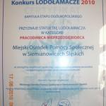Certyfikat przyznający statuetkę o w konkursie Lodołamacze 2010. Powiększ zdjęcie.
